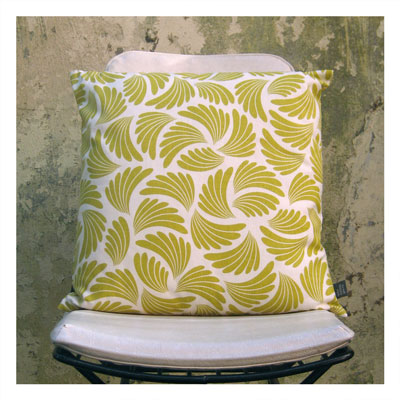 AERIAL ANTICS CUSHION IN MUSTARD